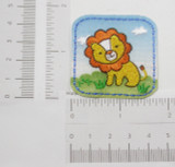 Lion Cute Square Patch Iron On Embroidered  Applique