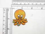 """Octopus Patch Sparkle Embroidered Iron On Applique   Orange Opalescent Sparkle  Backing with embroidery - Measures 1 1/2"""" x 1 5/8"""""""