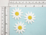 """3 x 12 Petal Daisy White 1 1/2"""" Iron On Patch Applique  Fully Embroidered Measures 1 1/2"""" across & 1 1/2"""" high"""