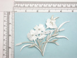 """White & Silver Flower Spray Iron On Patch Applique Fully Embroidered with Rayon and Metallic Threads Measures 5"""" across & 3"""" high approximately"""