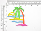 "Palm Tree & Ocean Multi Embroidered Iron On Patch Applique  Fully Embroidered  Measures 3 3/8"" across x 3 1/4"" high"