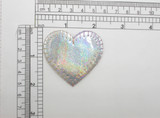 """Heart 2"""" Patch Silver Holographic Iron On Embroidered  Applique"""
