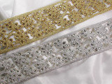 """Metallic Beaded Trim 2 3/4"""" wide (65mm)  Silver or Gold"""