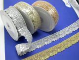 """Metallic Beaded Sari Saree Border 1 1/2"""" wide (40mm)  *Colors*"""