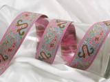 "Jacquard Ribbon 1 1/4"" Pink & Blue Paisley"