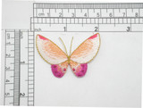 """Butterfly Peach & Hot Pink Iron On Patch Applique  2"""" x 1 3/8"""""""