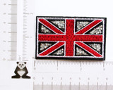 "Union Jack UK Flag Crystal Iron On Patch Applique Punk Rock  Embroidered with Rayon Threads ON  Felt Backing and detailed with Crushed Crystal   3"" x 1 7/8"" (75mm x 47mm) approx"