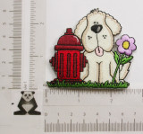 Puppy Dog with Hydrant Iron On Patch Applique