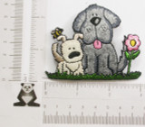 Puppy Dogs with Flower & Bee Iron On Patch Applique
