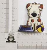 Puppy Dog with Bowl Embroidered Iron On Patch Applique
