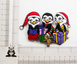 "Christmas Penguin Gifts Iron On Patch Applique 4"" x 2 5/8""(100mm x 67mm)  Fully Embroidered   Measures 4"" w x 2 5/8 h (100mm x 67mm ) approx"
