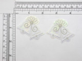 """Wedding Bells White Opalescent Embroidered Iron on Applique Embroidered on Opalescent Backing with Metallic & Rayon Threads Measures 2"""" across x 1 3/4"""" high (50mm x 44mm) approx"""