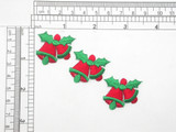 """3 x Seasonal Bells with Holly Iron On Patch Applique  Fully Embroidered Measures 1 1/4"""" across x 1 1/8"""" high (32mm x 29mm) approx"""