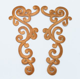 Brown Swirl Patch Iron On Embroidered Applique - Large Decorative Pair