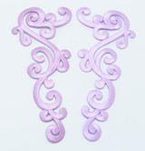 Iron On Patch Applique - Large Decorative LILAC Left & Right Pair