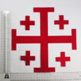 "Jerusalem 5 Part Cross 10""  Red"