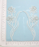 Bridal Flower Spray Daffodil White L&R Pair Iron On Patch Applique