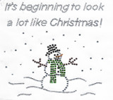 Snowman with scarf in Snow Scene - Rhinestone Applique - Iron On