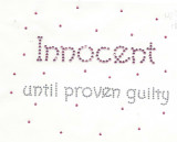 "Rhinestud Applique - ""Innocent   until proven guilty"""