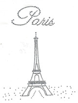 "Rhinestud Applique - ""Paris"" Eiffel Tower"
