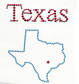 "Rhinestud Applique - Texas   Colors - RED BLUE   Measures 5 1/2"" wide x 7"" high  (139mm x 177mm)   Iron On or Heat Transfer   Item Pic is Scanned for accuracy, the studs and stones are much more vibrant to naked eye"
