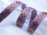 "Jacquard Ribbon 1 "" (25mm) Purple Diamond Floral priced Per Yard"