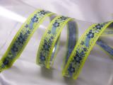 "Jacquard Ribbon 3/4 "" (20mm) Lemon With Blue Flowers priced Per Yard"
