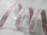 "Jacquard Ribbon 11/16 "" (18mm) Pink Flower on White priced Per Yard"
