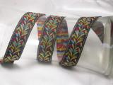 """Jacquard Ribbon 1"""" Black & Multi Plume Priced Per Yard"""