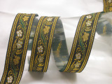 """Jacquard Ribbon 1 1/8"""" (28.5mm) Floral with Double Gold Border Priced Per Yard"""