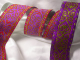 "Jacquard Ribbon 2"" (50mm) Red Purple & Yellow Priced Per Yard"