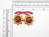 """Funky Sun Glasses Shades Iron On Patch Applique  Embroidered on Wine Acetate Backing Measures 2 1/16"""" across x 1 5/16"""" high approx"""