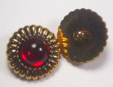 "Button 1"" (25mm) Gold with Red Center  - Per Piece"