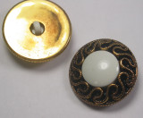 """Button 1 1/8"""" (29mm) Aged Gold Fancy with White  Center 1 1/8"""" - Per Piece"""