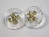 """Button 15/16"""" (24mm)  Clear with Crossed Rope Design  - Per Piece"""