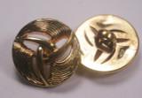 """Button 13/16"""" (20mm)  Gold Tri Swirl  - Per Piece"""