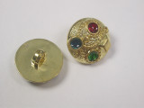 """Button 3/4"""" (19mm) Gold with Color Accents - Per Piece"""