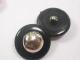 """Button 13/16"""" (20.6mm)  Black & Silver Mirror Dome  - Per Piece"""