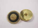 """Button 3/4"""" (19mm) Gold with Black Circle detail - Per Piece"""
