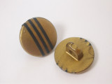 """Button 9/16"""" (14mm) Gold with Black Stripes - Per Piece"""