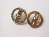 """Button 5/8"""" (15.8mm) Gold Toggle Effect Center  - Per Piece"""