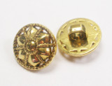 """Button 1/2"""" (12.5mm) Gold with Floral Detail - Per Piece"""