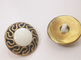 """Button 13/16"""" (20.6mm)  Gold with White Center  - Per Piece"""