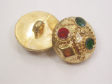 """Button 13/16"""" (20.6mm)  Gold with Color Infils  - Per Piece"""