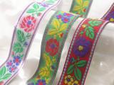 "Jacquard Ribbon 1 5/16"" (33mm) Floral *Colors* Per Yard"