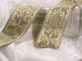 """Jacquard Ribbon 2 3/8"""" (60.3mm) Exquisite Floral on Tan *Colors* Priced Per Yard"""