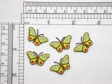"""5 x Mini Butterfly Yellow 5/8"""" x 7/8"""" Iron On Patch Applique    Fully Embroidered with rayon Threads    Measures 5/8"""" HIGH X 7/8"""" WIDE"""""""