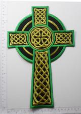 "Celtic Cross Black Emerald & Gold 12"" x 7 3/4"""
