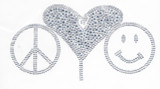 Peace Love & Happiness Silver Studded Applique