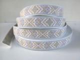 "Jacquard Ribbon 1 1/8"" White Tapestry Style 36 Yard Roll"
